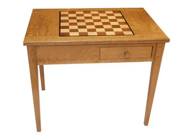 #219 Chess Table U2013 Quarter Sawn Burl Oak With Walnut And Hard Maple Inlay